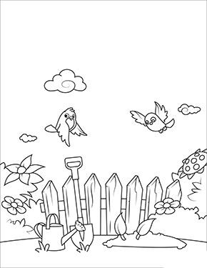 Ausmalbild Fruhling Vogel Im Garten Ausmalbilder Fruhling Pokemon Malvorlagen Vogel Im Garten