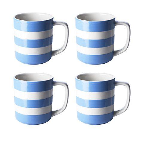 Cornishware Mugs Set Of 4 Blue White 280ml Blue White