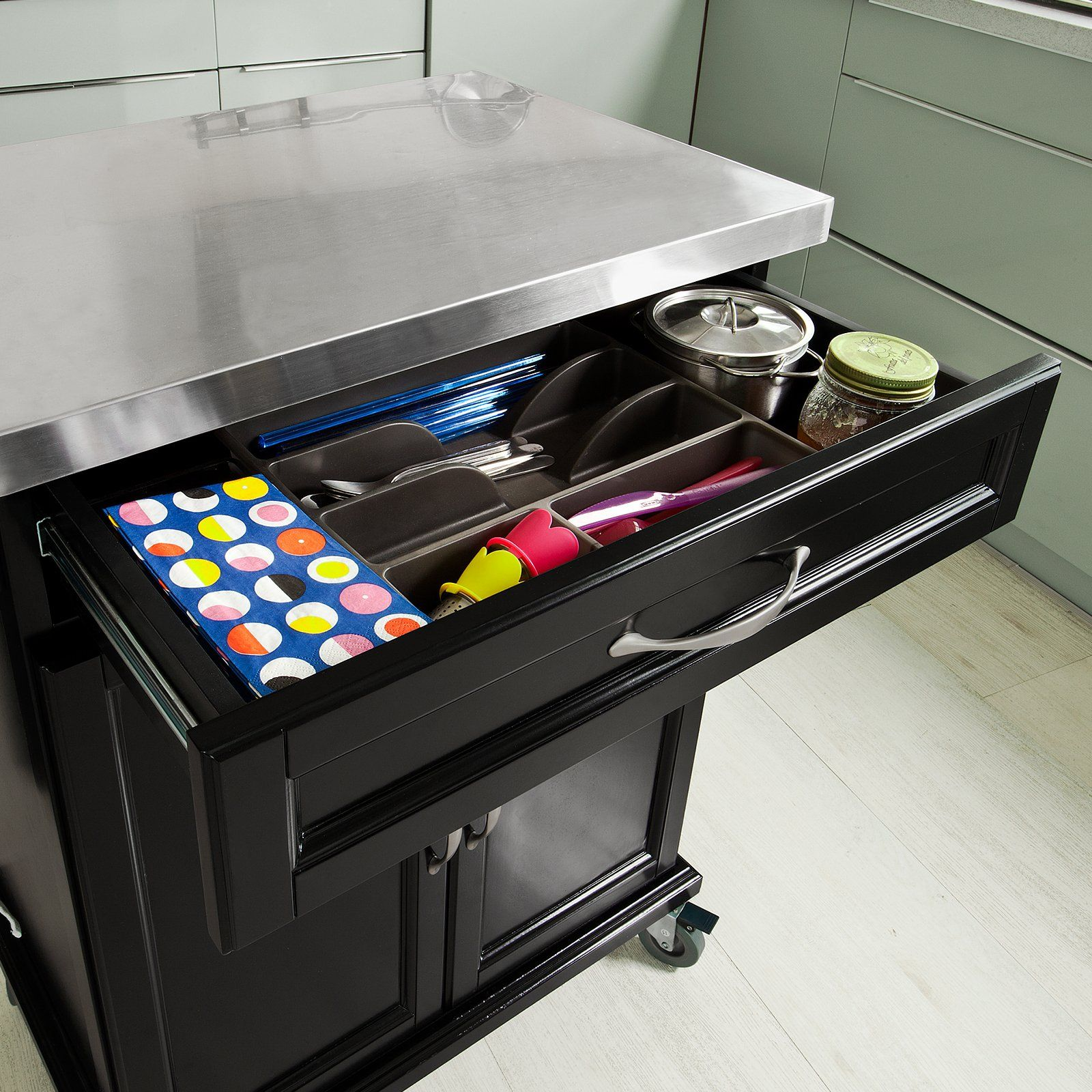 SoBuy Luxus-Küchenwagen mit Edelstahltop, Küchenschrank, Kücheninsel ...