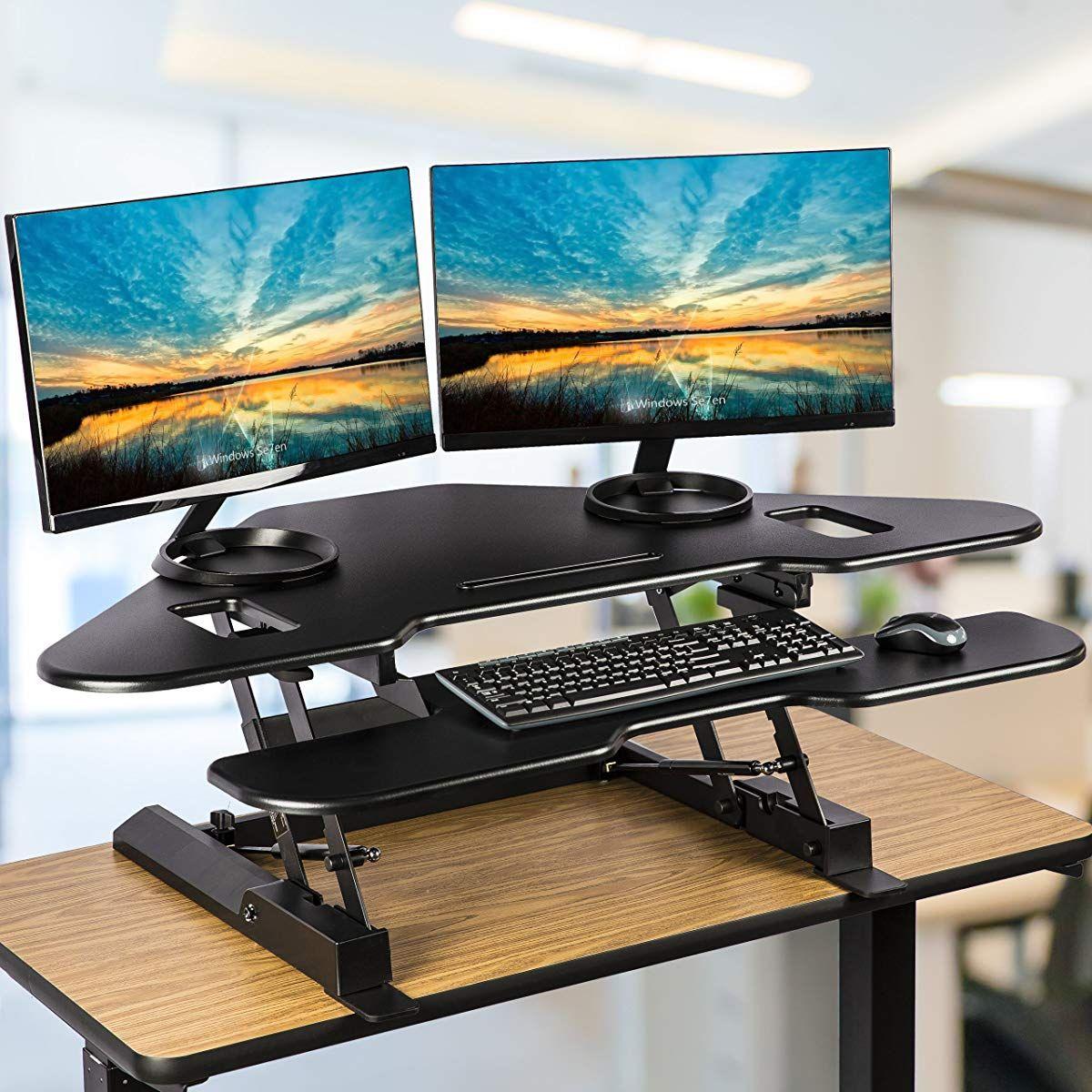 Height Adjustable Sit To Stand Computer Desk Standing Desk Riser Workstation Triangle Desktop Computer Stand For Desk Desk Riser Standing Desk Riser