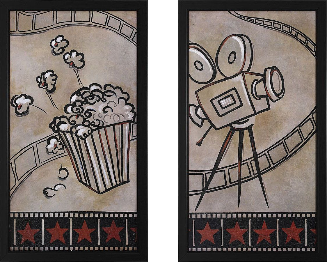 Movie Camera and Popcorn Framed Theater Wall Art Pair
