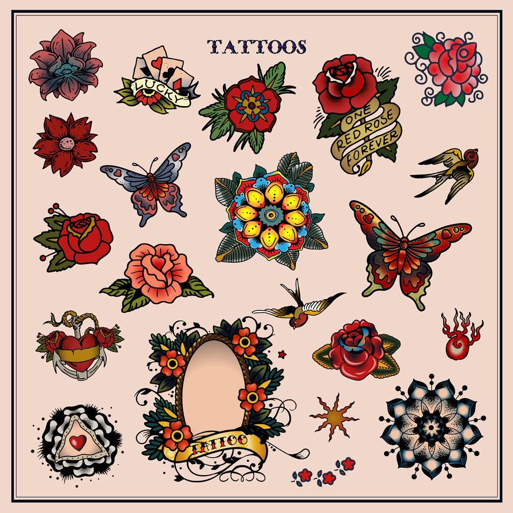 Tattoos In Traditional Vintage Style Flash Sailor Jerry Body Ink Skin Symbol Decorative Flower Floral Rose Permanent Blood Vector Illustration