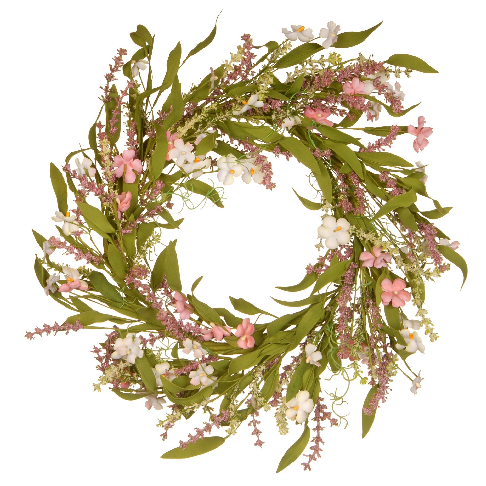 Pink and White Spring Flowers Artificial Green Leafy