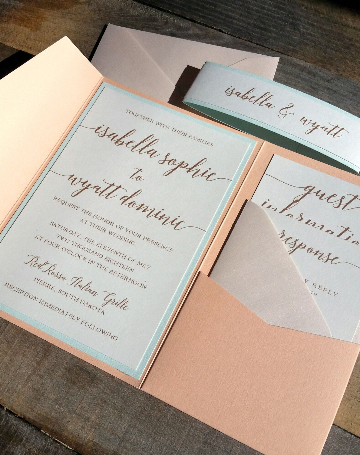 Peach Blush And Mint Green Wedding Invitation Suite Wedding