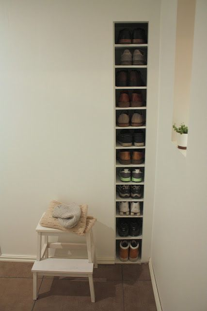 built-in shoe shelf
