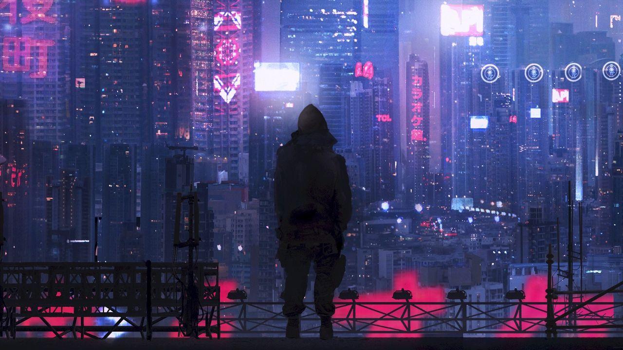 Обои город, силуэт, арт, киберпанк, футуризм, sci-fi ...