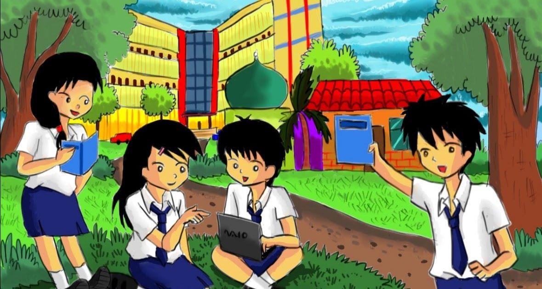 Belajar Gambar Kartun Anak Sekolah