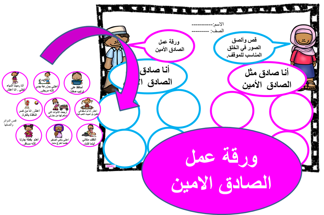 ورقة عمل الصادق الامين القدوة Arabic Worksheets Worksheets