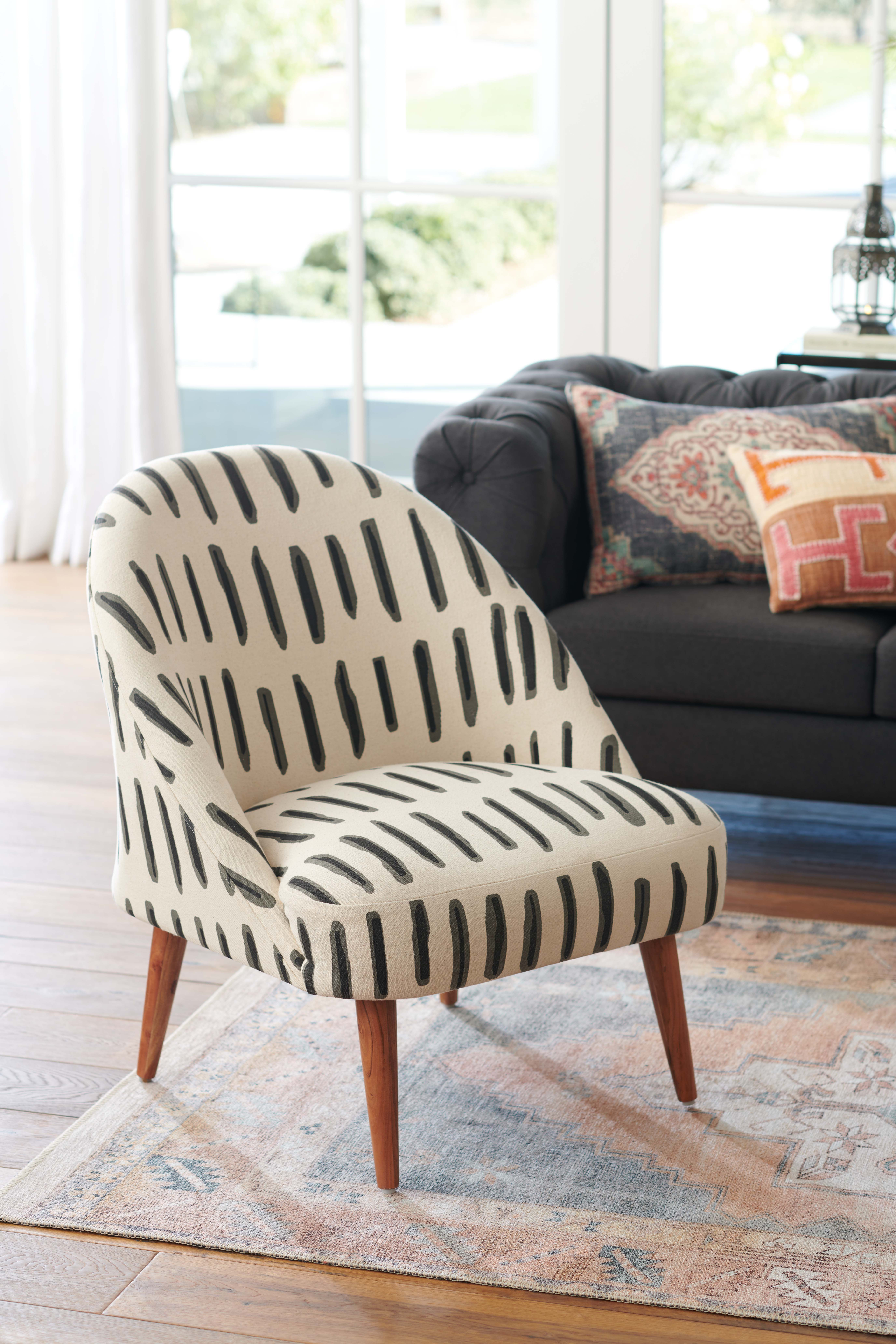 Charcoal Gray And Ivory Dash Print Noemi Tub Chair In 2020 Unique Living Room Furniture Living Room Furniture Sofas Furniture #printed #chairs #living #room