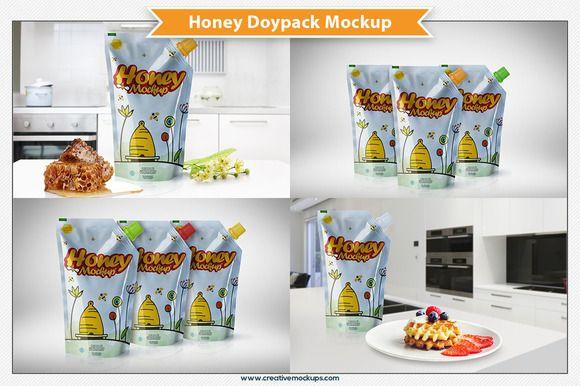 Download Honey Doypack Bag Mockup Bag Mockup Presentation Design Banner Design