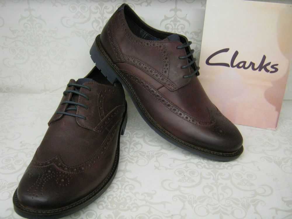 Clarks Garnet Limit Chestnut Brown Leather Smart Lace Up Brogue Shoes