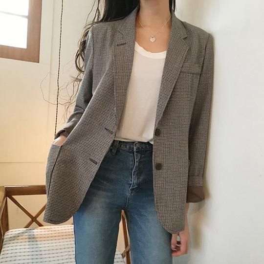 Korean Plaid Office Lady Blazer Jacket Vintage High Quality Fashion Work Suit Elegant Outerwear Feminino 2 Colors