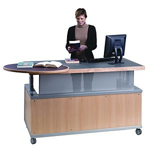 Another Mobile Circ Desk This One A Bit More Professional Looking I Like The Mobility It Lets You Be In The M Library Desk Library Furniture Reference Desk