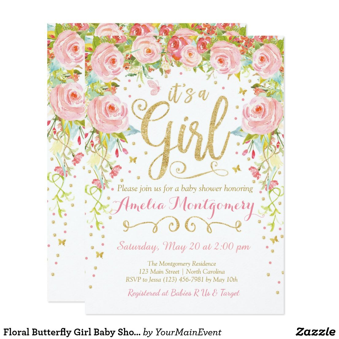 Floral Butterfly Girl Baby Shower Invitation   Pinterest   Shower ...