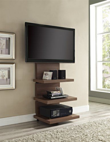 Tv Stand With Wall Mount Up To 60 Inch Walnut Finish 3 Shelves Metal
