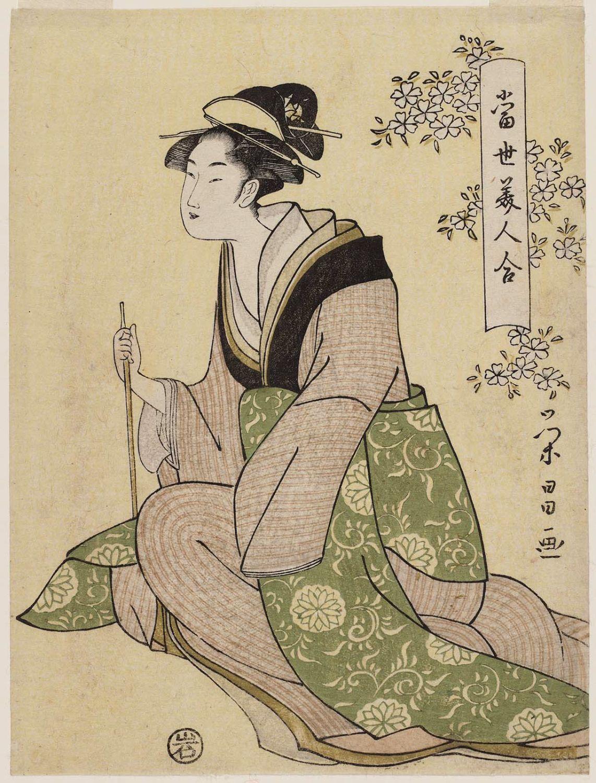 鳥高斎栄昌: Woman Holding a Pipe, from the series Comparisons of Modern Beauties (Tôsei bijin awase) - ボストン美術館