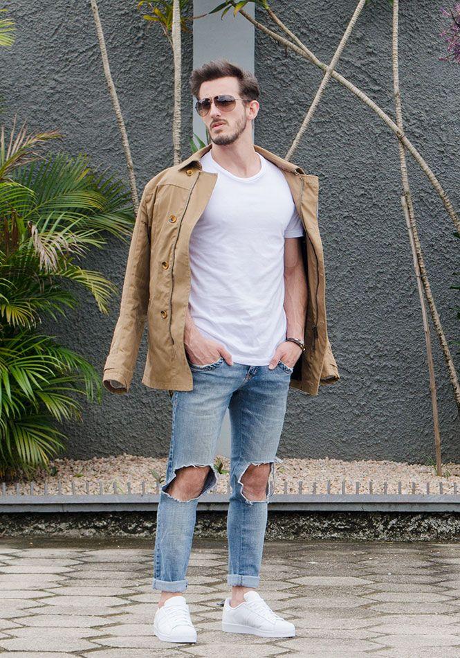 9dab29551d Zara men, jeans destroyed, adidas, adidas superstar, white shoes ...