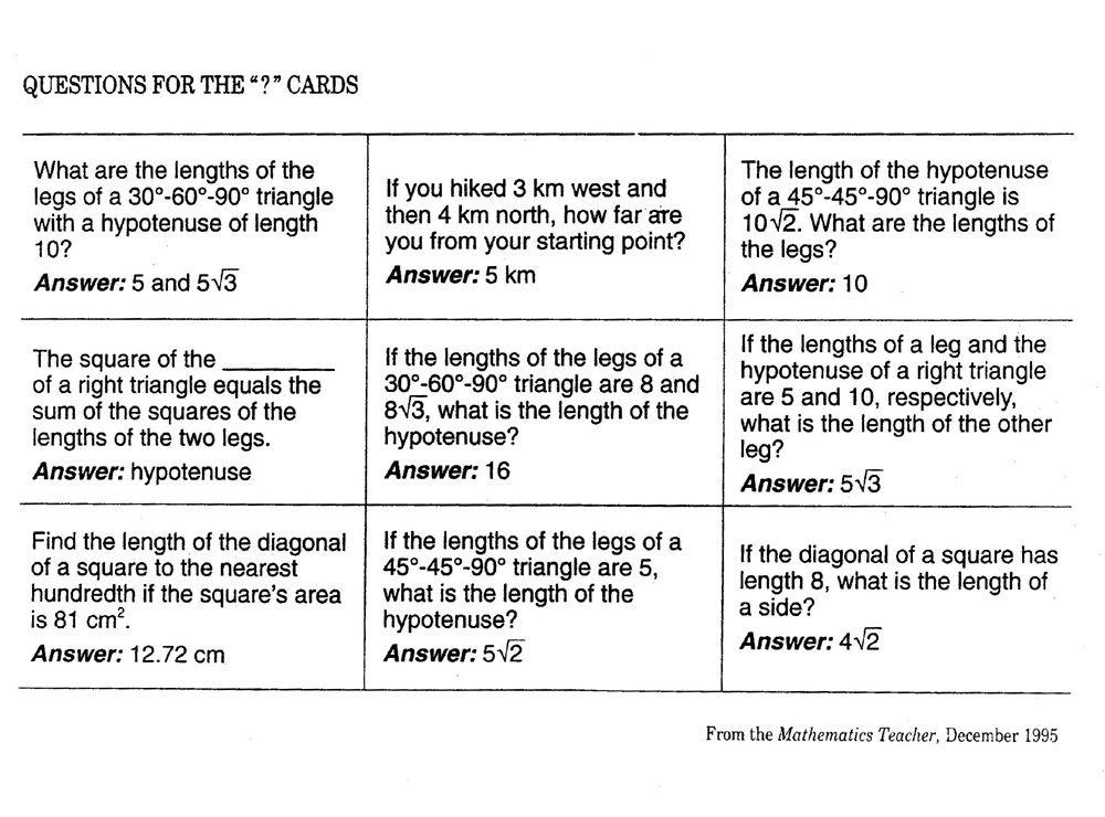 Fresh Ideas - Pythagorean Theorem Game Pythagorean theorem, Quadratics