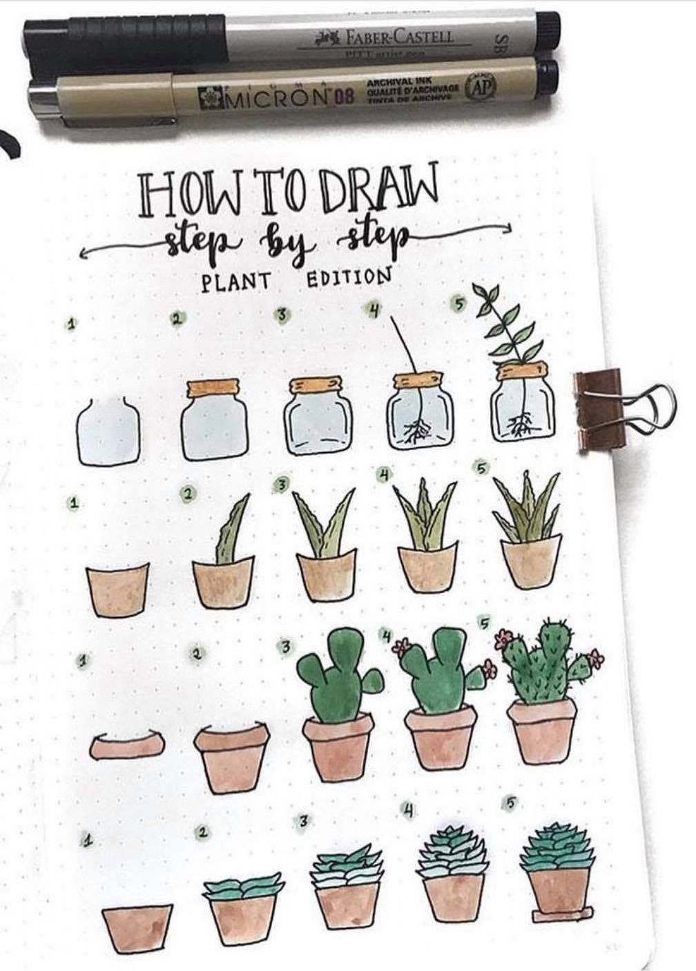 to draw a plant? Here is a step by step guide by ig@emres_blog. Bullet journal doodles. Doodle inspiration.