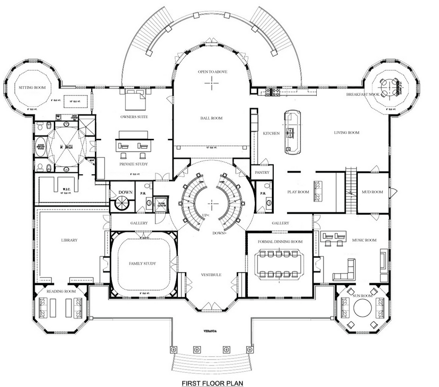 Hotr Reader Eric Revised The Floor Plans To A 17 000 Square Foot Virginia Mansion 1st Picture Let H Mansion Floor Plan Unique Floor Plans Luxury Floor Plans