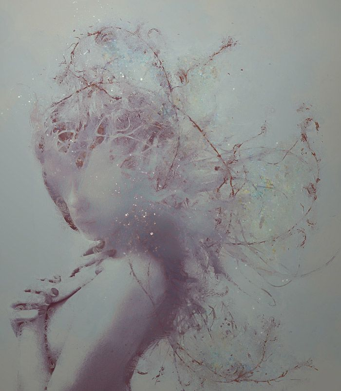 ArtistLeslie Ann O'Dellcreates stunning photographs paired with hand painted embellishments. The otherworldly subjects are shrouded in layers of natural elements, adding a grounded tone to the ghostly figures.