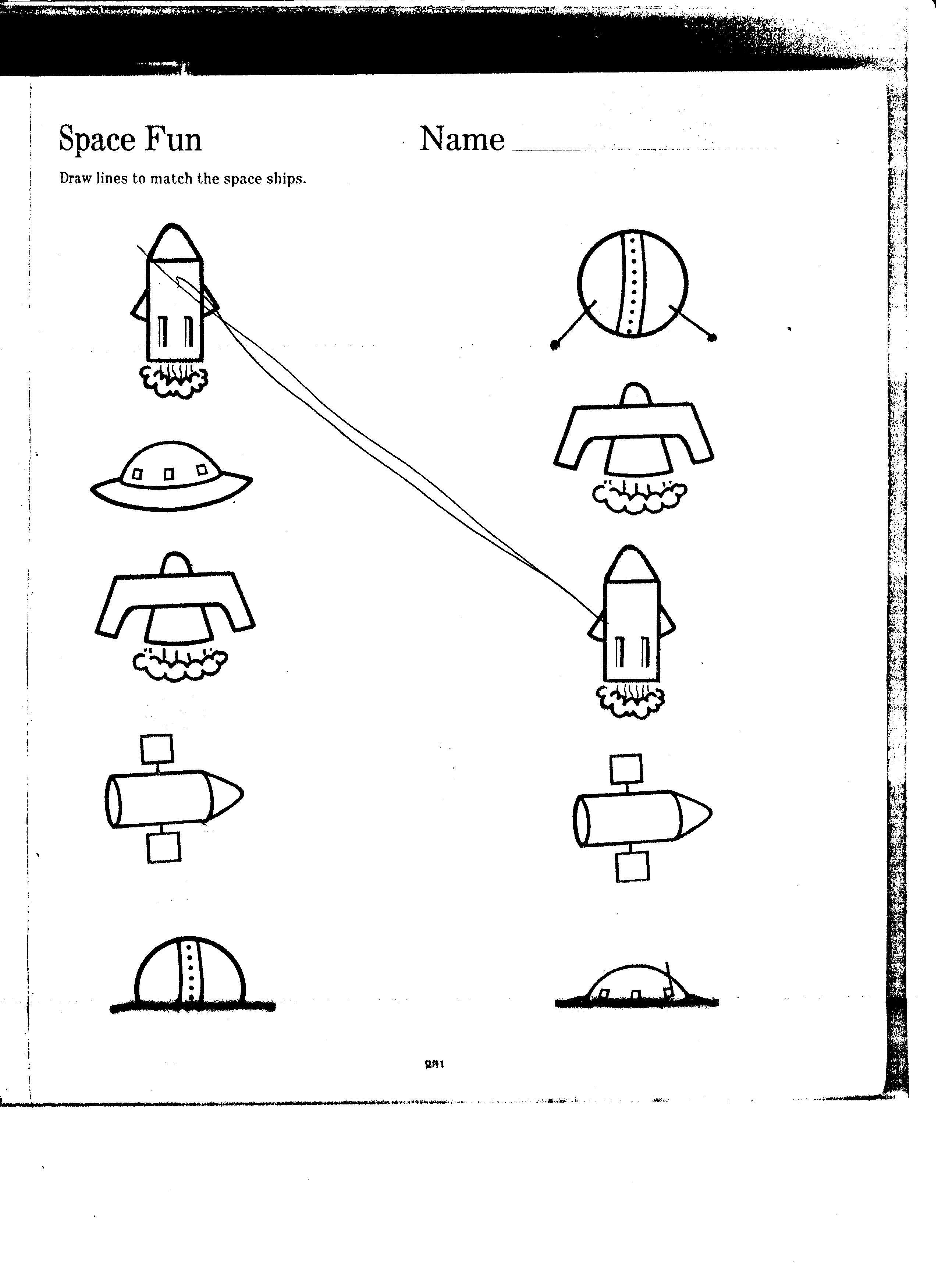 Space Matching Worksheet Kindergarten Worksheets Kindergarten Sight Word Games Online Kindergarten [ 3501 x 2550 Pixel ]
