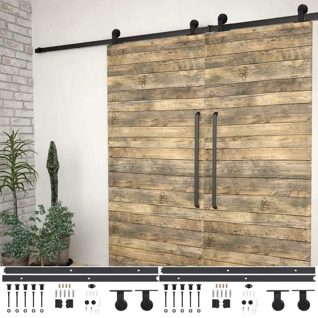 Sliding Door Hardware Kits 2 Piece 200 cm Steel Black