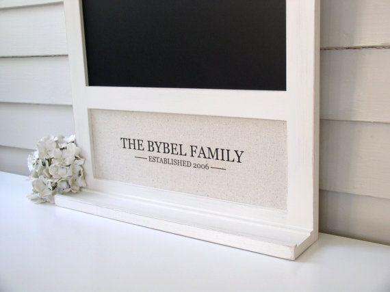 Chalkboard and Magnetic Board Message Center with Monogram  205 x 265 inch Bulletin Board Handmade Frame Ledge Shelf for Keys Chalk Pen