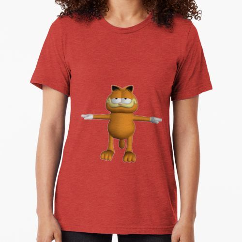 Garfield T Pose Tri Blend T Shirt By Jakeebler T Shirts For Women Poses T Shirt