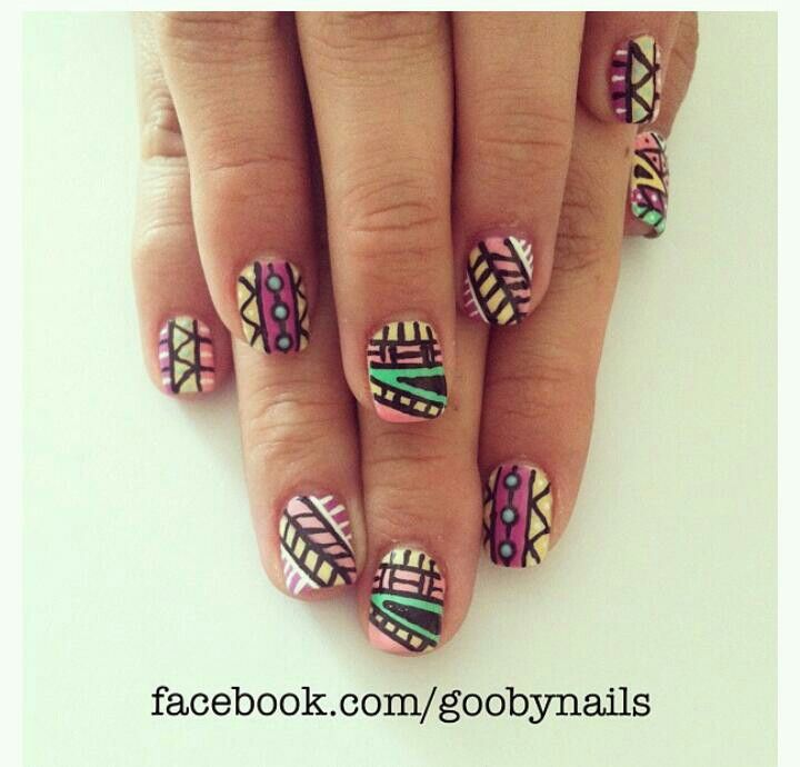 Patterned nail art design by goobynails