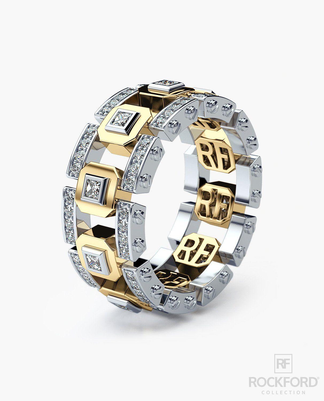 LA PAZ Mens Two Tone Gold Wedding Band with Diamonds in 2019 | De