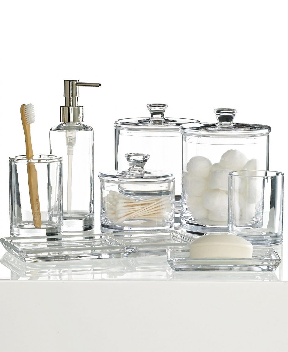 Bathroom Excellent Glass 4 Piece Bathroom Accessory Set For