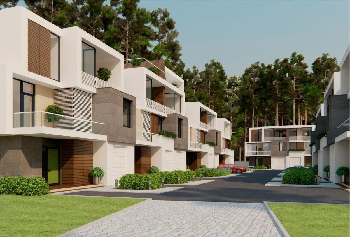 Stunning Modern Townhouse Design With Garden Idea In Front Yard