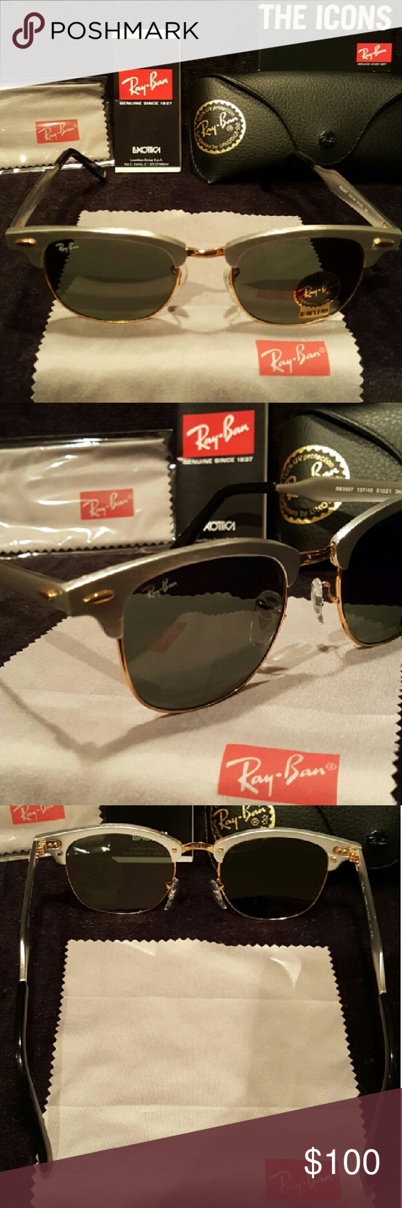 21519ead5500e ... new zealand aluminum metal ray ban clubmaster sunglasses aluminum  brushed silver clubmaster sunglasses style rb3507 137