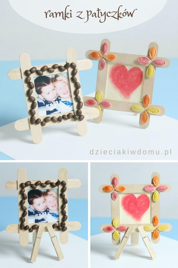 ramka z patyczków - kreatywny prezent   Defne   Pinterest   Papà ...