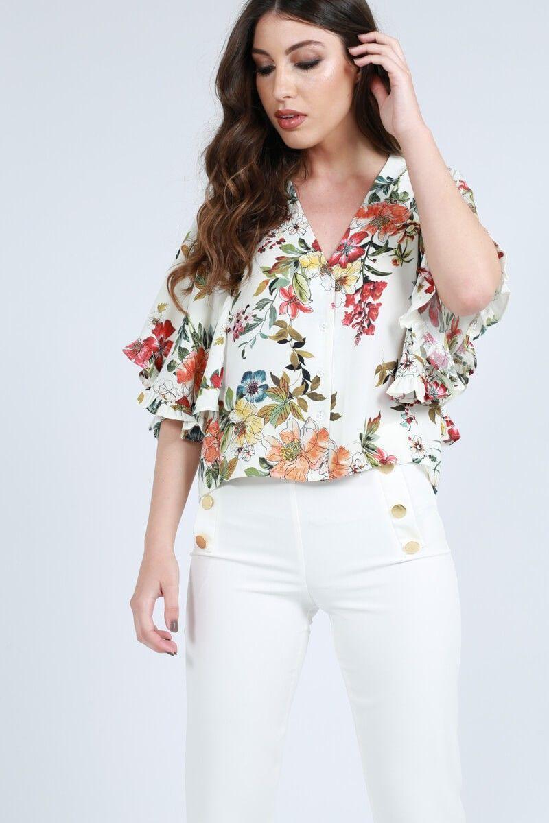 el mejor calidad de marca ahorros fantásticos Blusa estampada con capa CAYRO | ~ BLUSAS ~ | Ropa, Blusa ...