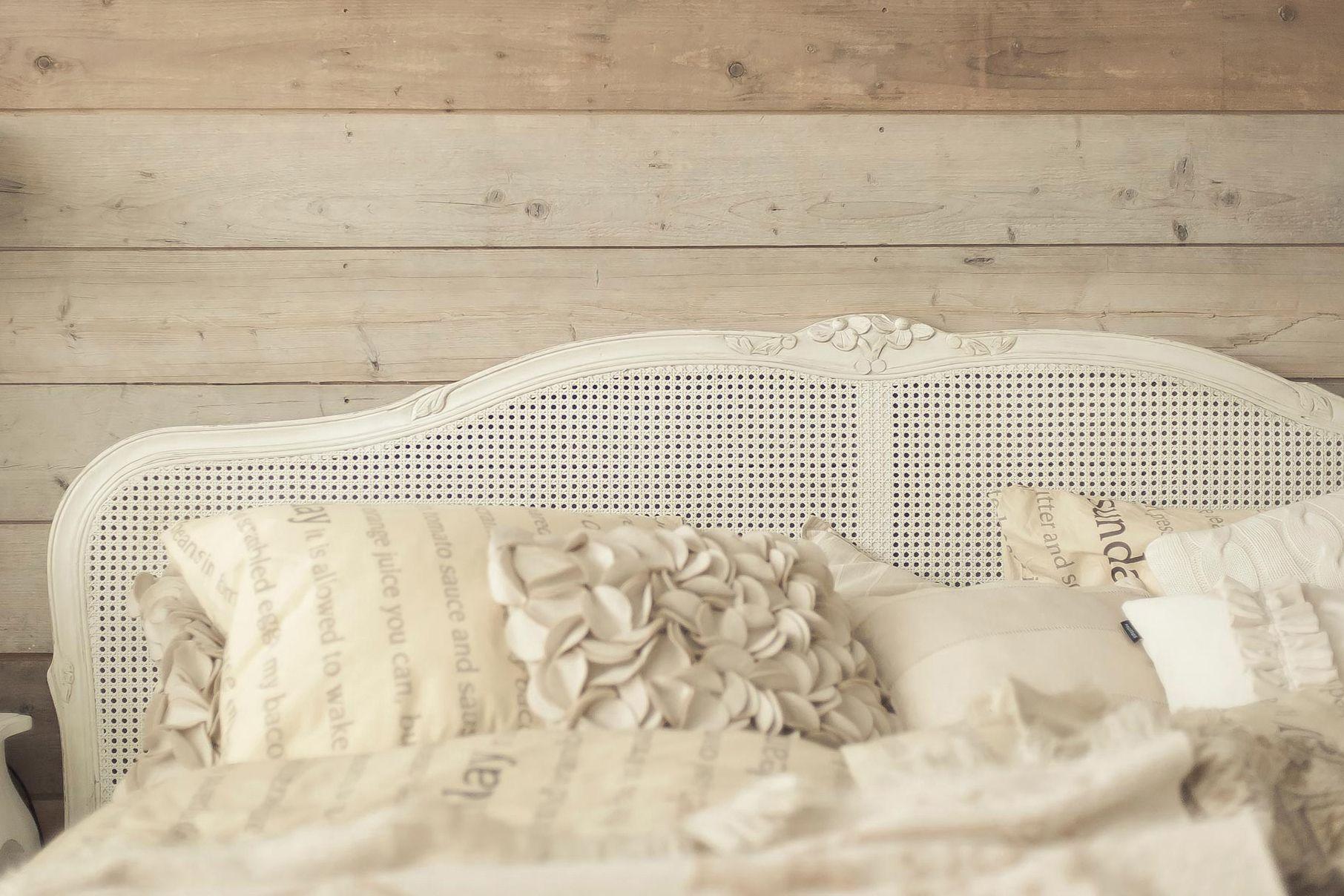 Wit webbing hoofdbord slaapkamer rustiek provance pinterest