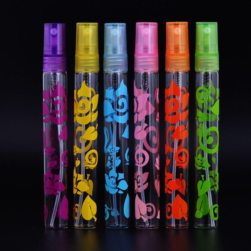 Mub-moda 6 pz 10 ml stampa rosa vetro bottiglie di profumo dello spruzzo atomizzatore vuoto riutilizzabile mini bottiglia spedizione gratuita