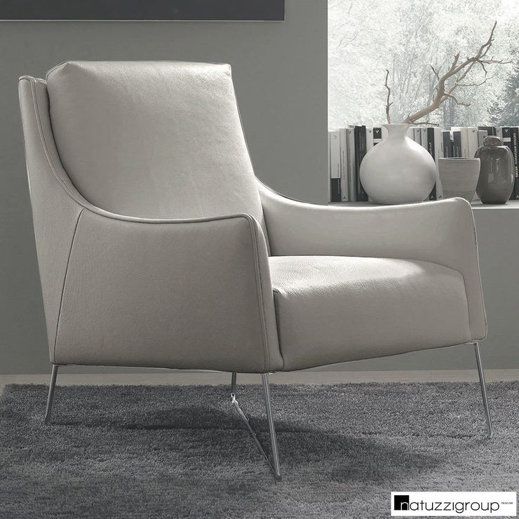 The Natuzzi Light Grey Top Grain Leather Accent Chair Is A Contemporary Take On A Traditio Light Grey Accent Chair Leather Accent Chair Leather Sectional Sofas
