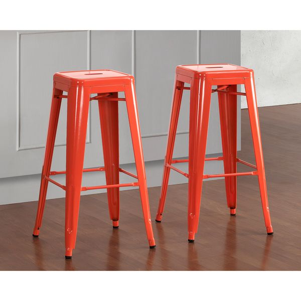 Tabouret 30 Inch Tangerine Metal Bar Stools (Set Of 2)   Overstock™