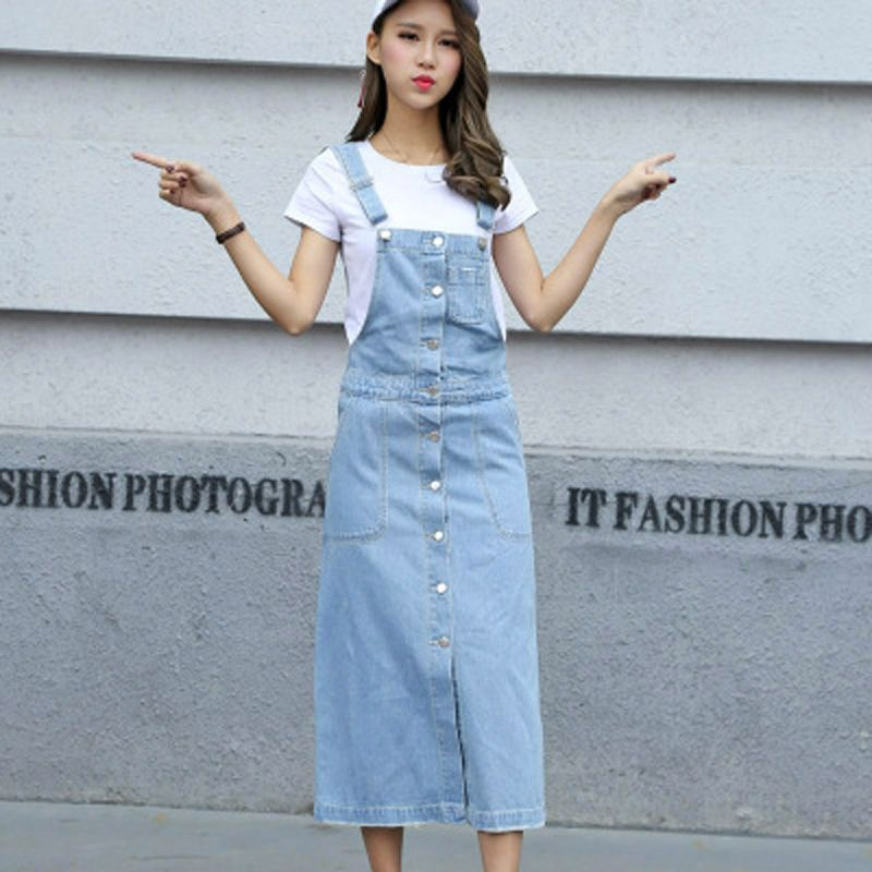 327730461903 New Jeans Dress fashion women ladies Long denim strap solid jean dress loose  fitting sleeveless long overalls dungarees summer