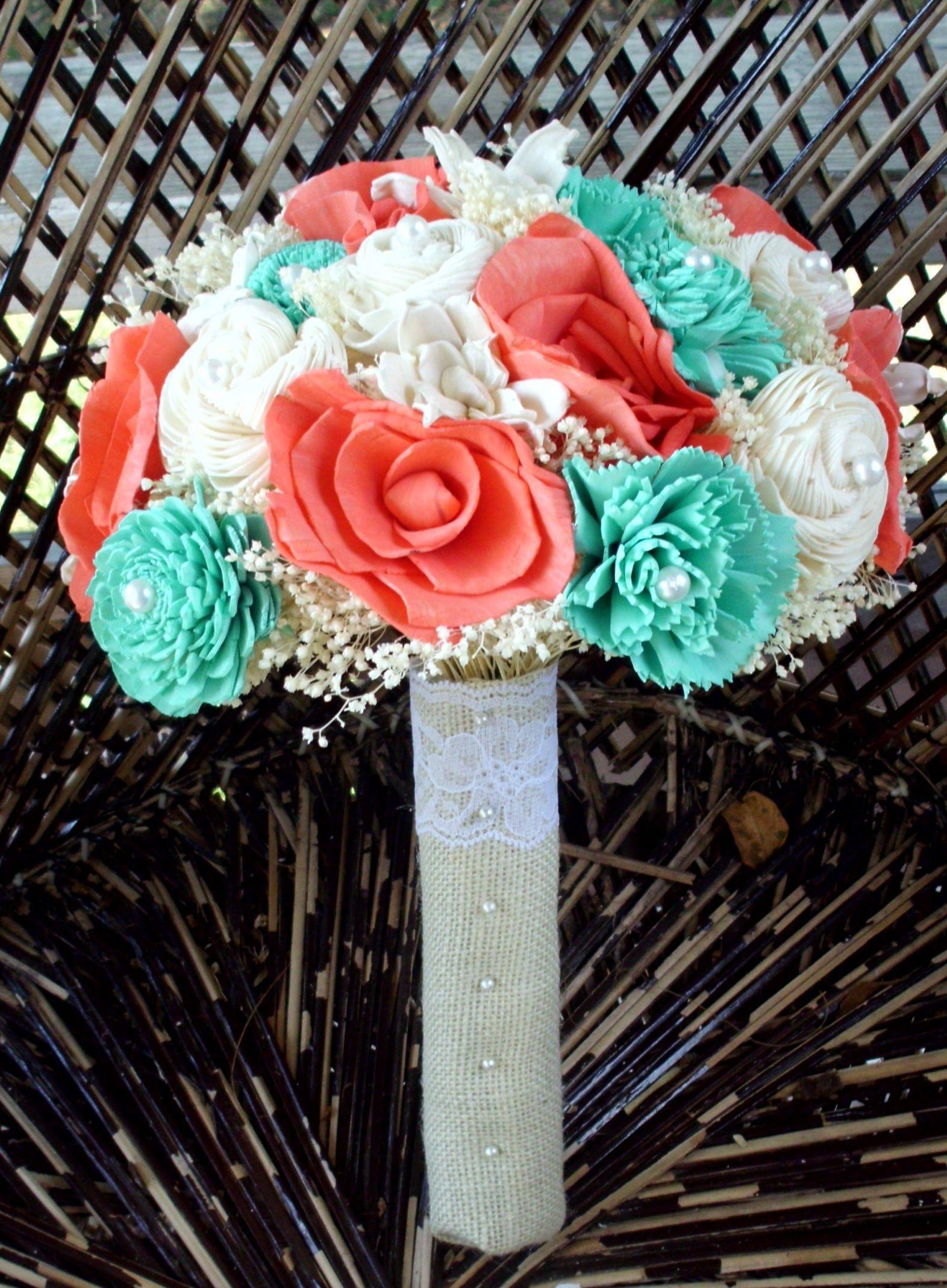 Aqua and coral bridal bouquet sola flower bouquet