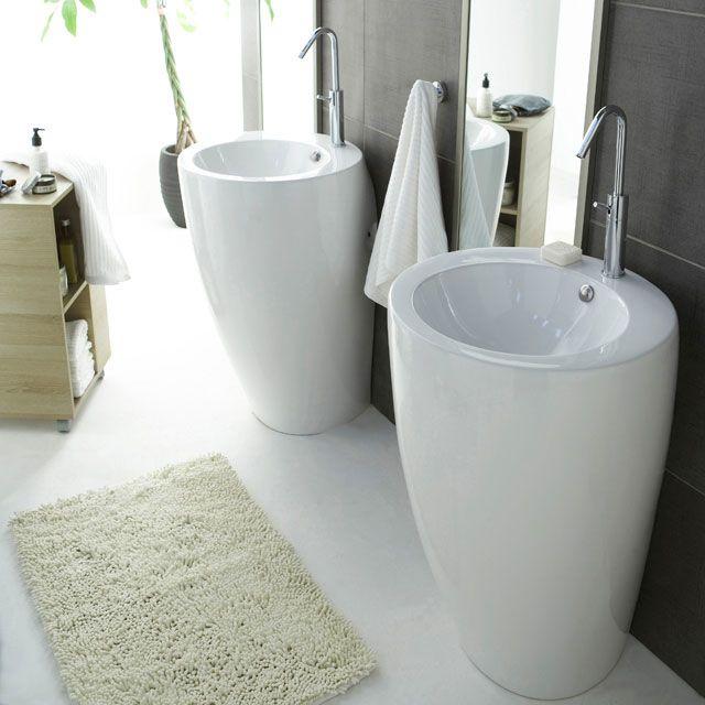 Lavabo Totem céramique - CASTORAMA | Salle de bain - studio | Pinterest