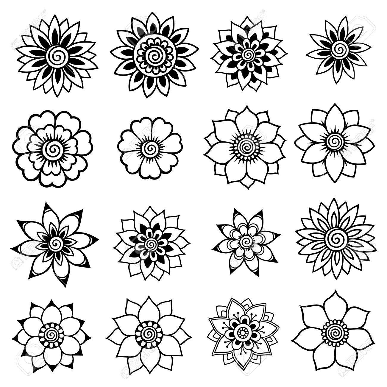 Stock Vector Henna drawings, Henna designs easy, Flower