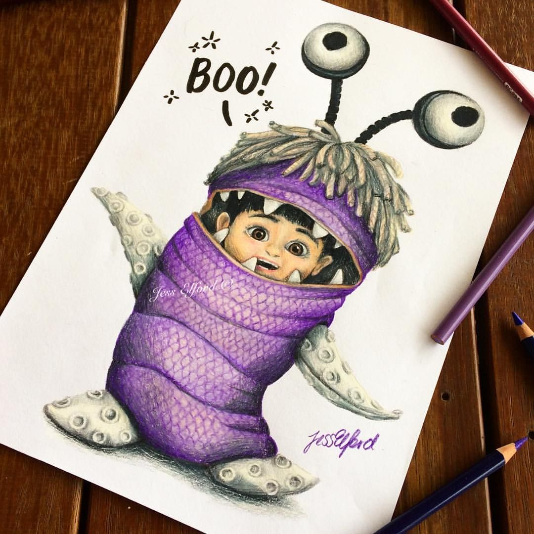 Drawing Of Boo Monsters Jess Elford. Drawn