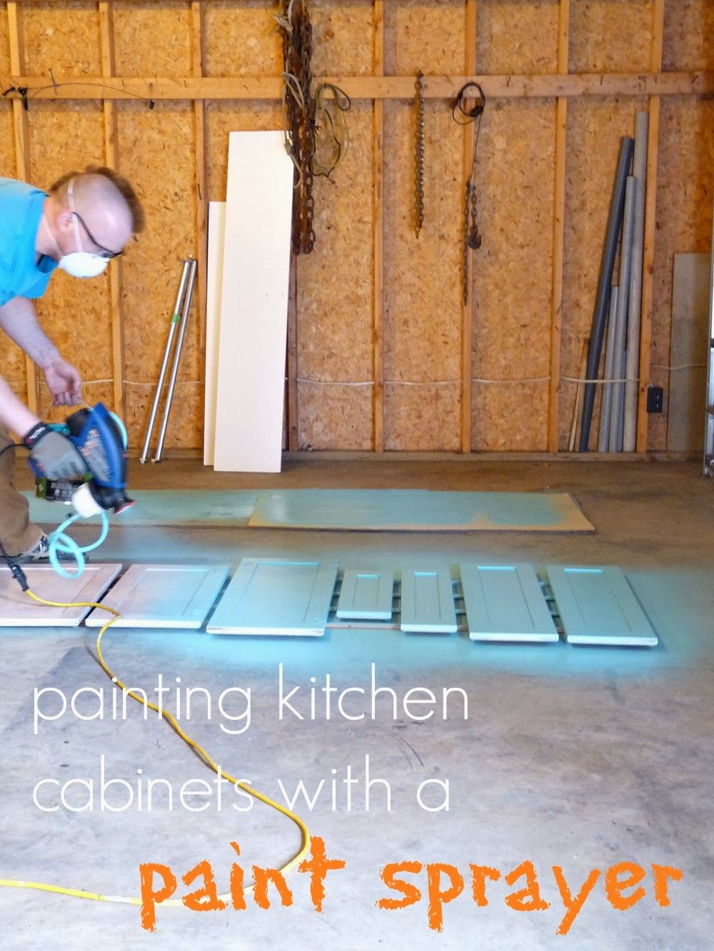 Painting the kitchen cabinets with a paint sprayer
