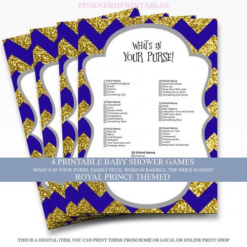Royal Prince Baby Shower Games 4 Pack Printable