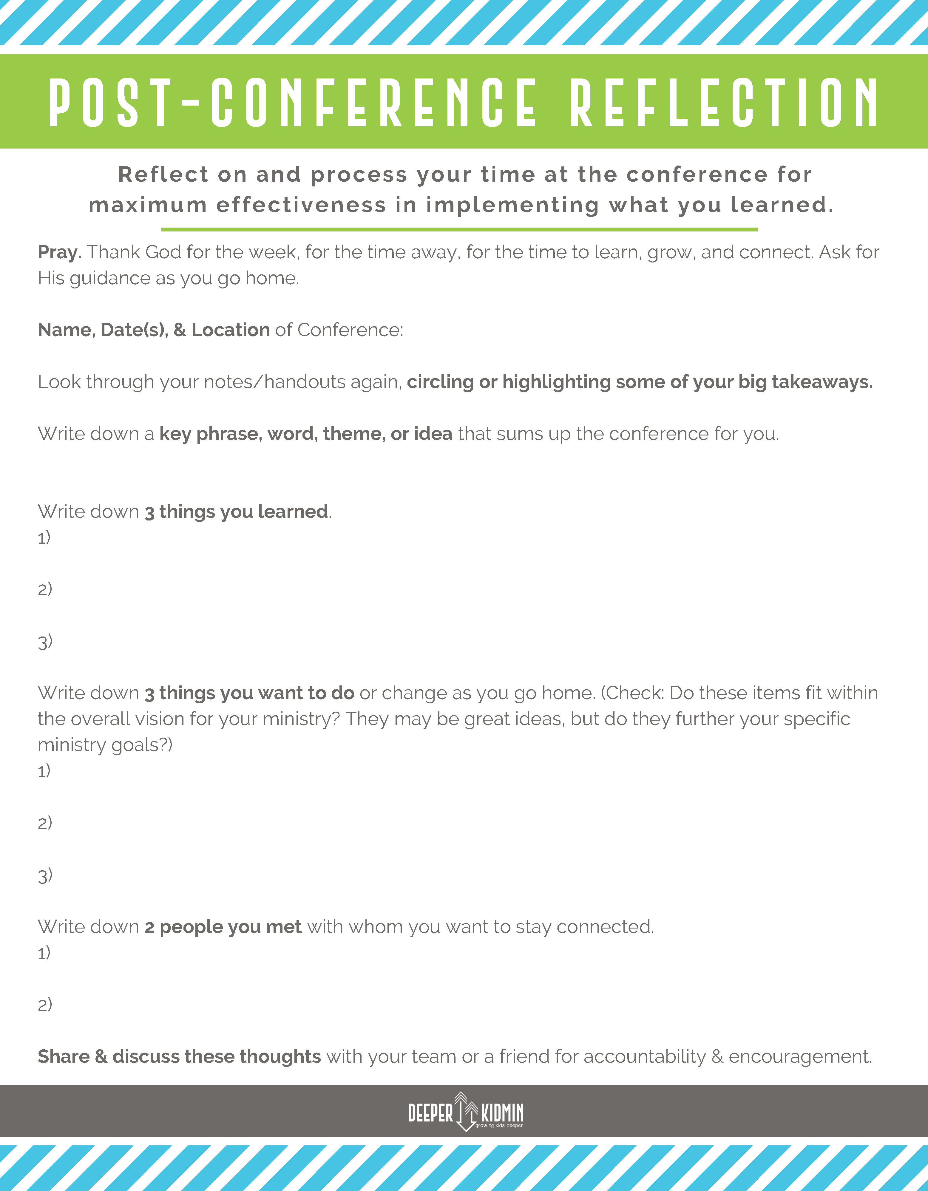 Post Conference Reflection Worksheet Process All Of The