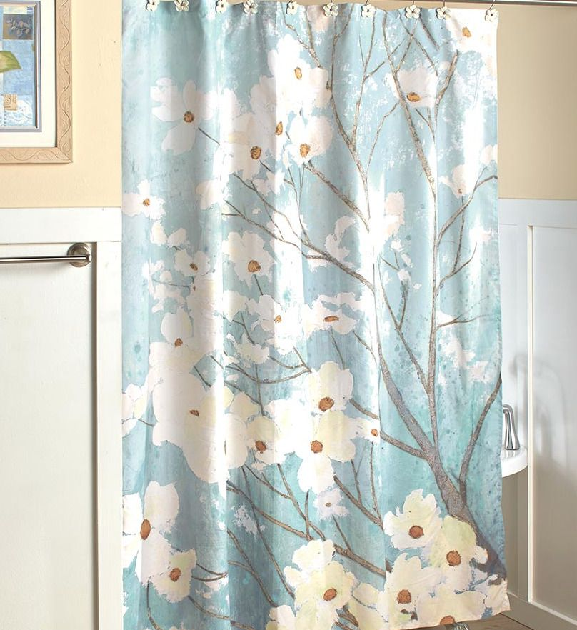 Blue Floral Shower Curtain Fabric Gray White Dogwood Tree