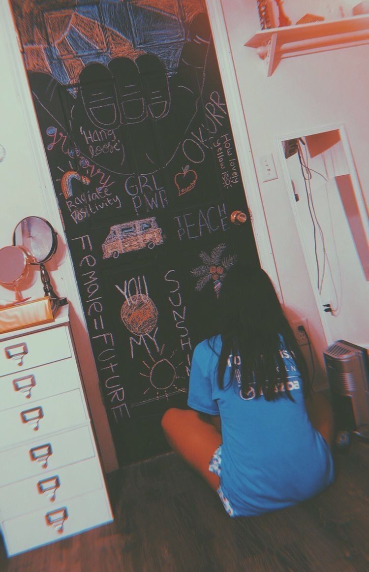 Wall Painting Ideas Bedroom Teenager Aesthetic Aesthetic Bedroom Ideas Painting Teenager In 2020 Painted Bedroom Doors Chalkboard Wall Bedroom Chalkboard Bedroom